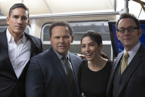 Jim Caviezel, Kevin Chapman, Sarah Shahi y Michael Emerson. (Foto de Giovanni Rufino).